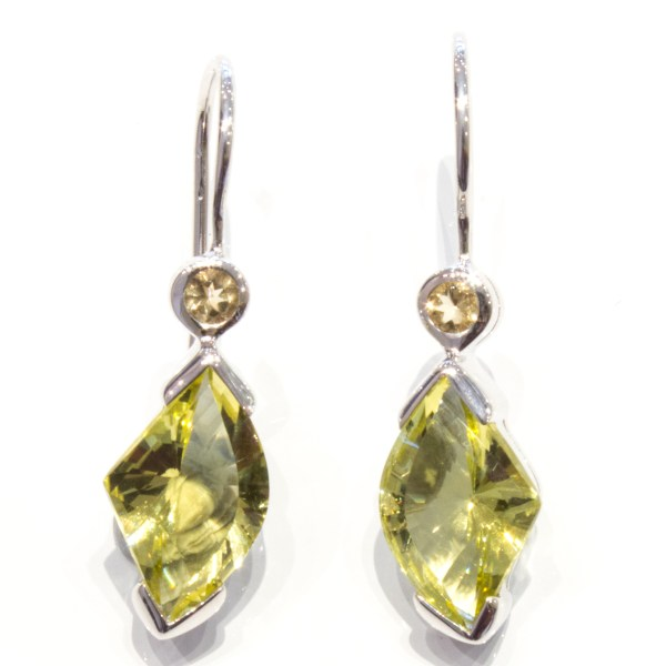 Lemon and Smoky Quartz Sterling Silver Earrings