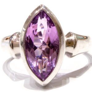 Laser Faceted Amethyst sterling Silver Ring