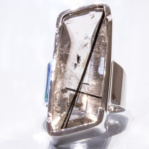 Tourmalinated Quartz and Sterling Silver Ring