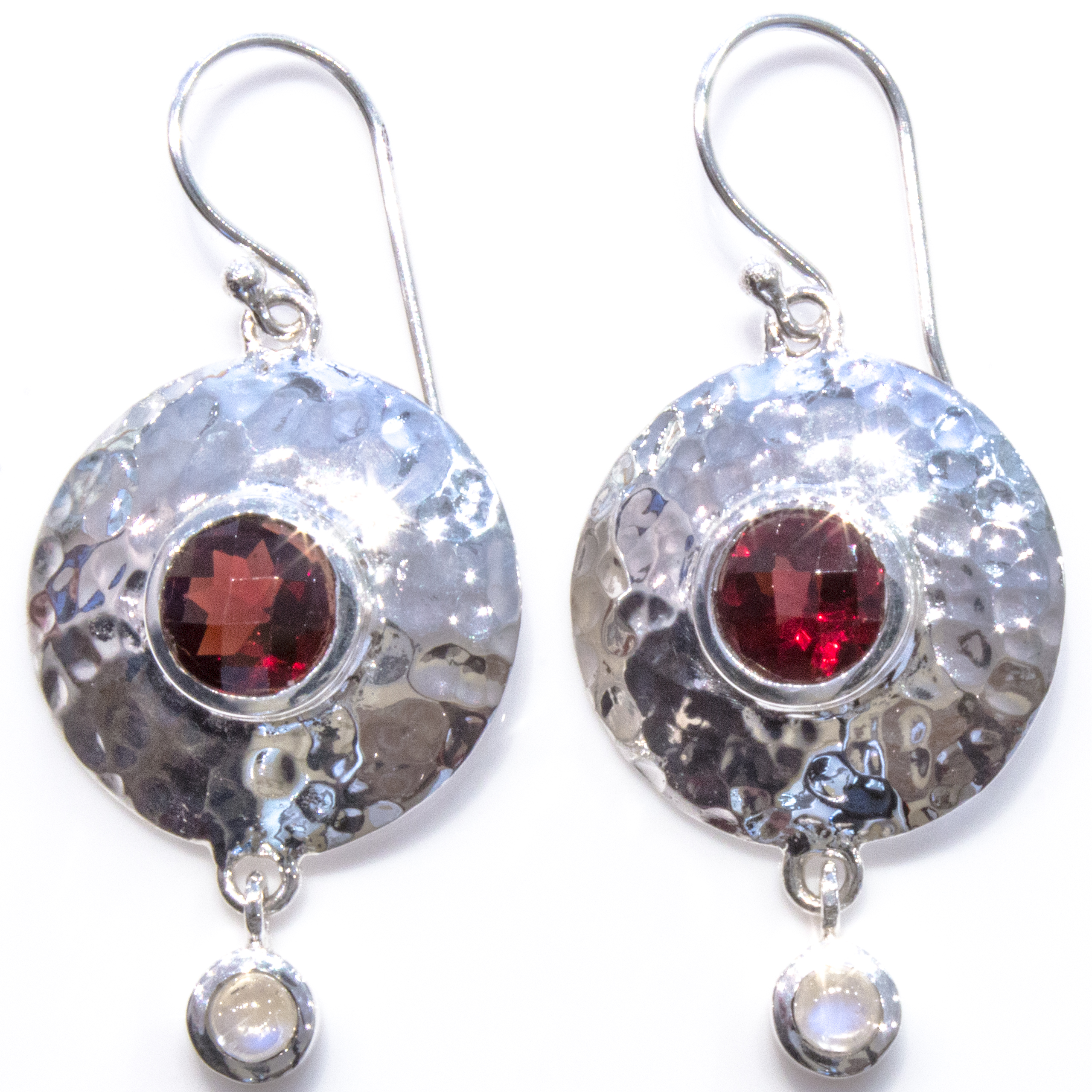 Garnet and Silver Contemporary Earrings