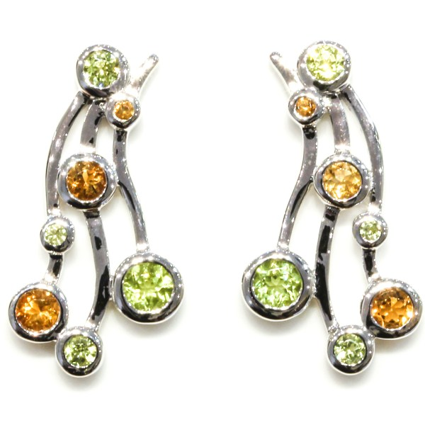Peridot and Citrine Contemporary Handmade Earrings
