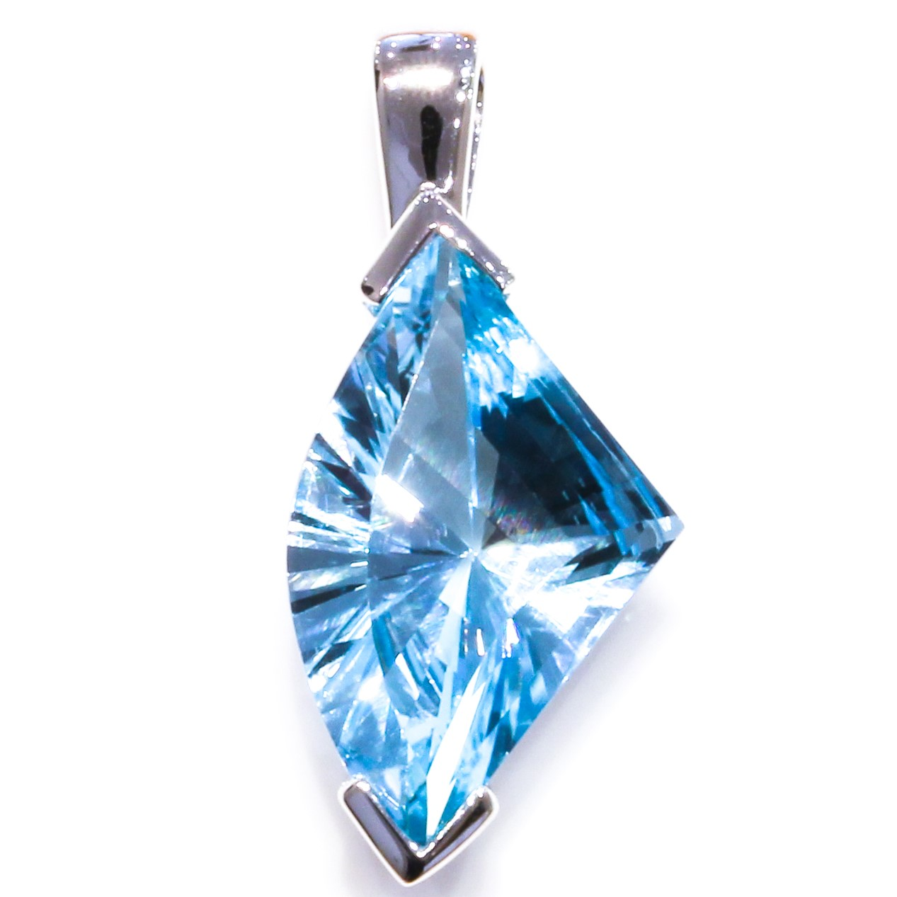 Contemporary Blue Topaz Sterling Silver Pendant