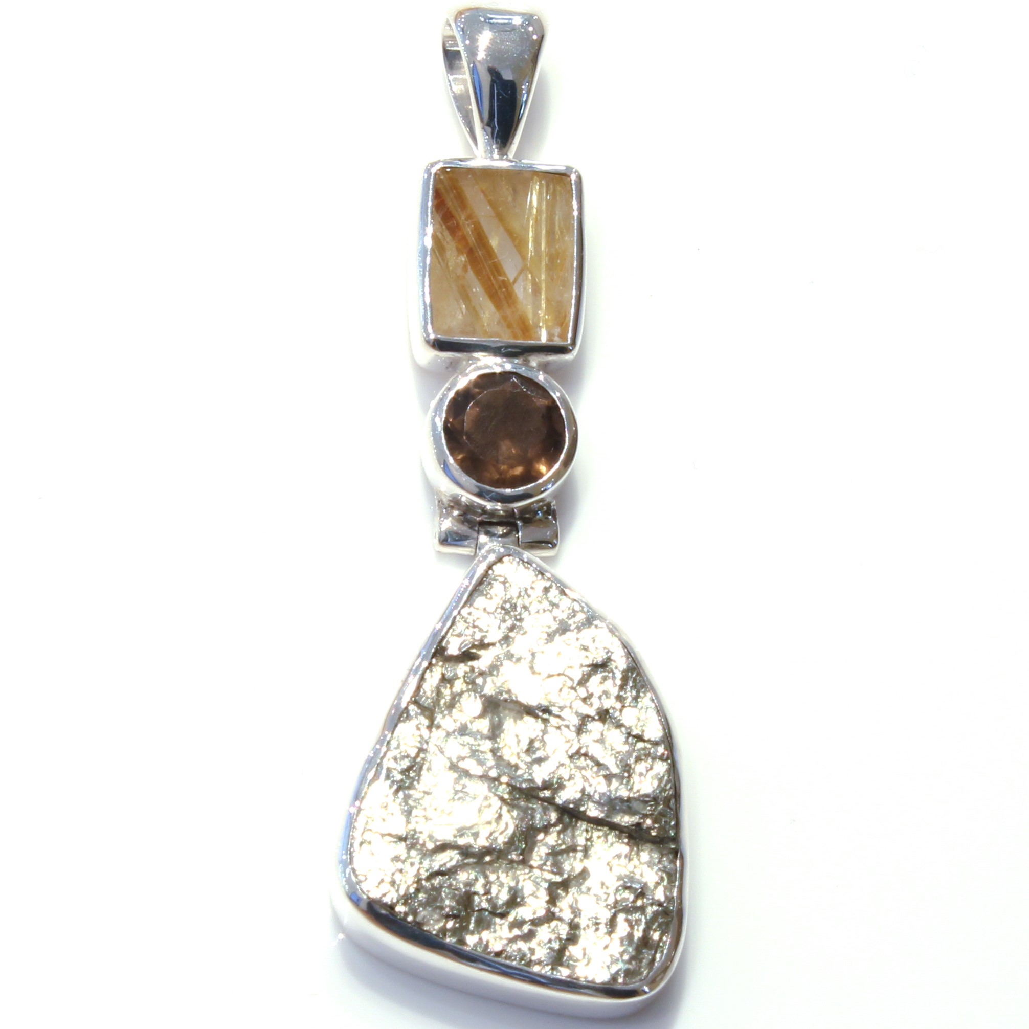 Rutilated Quartz, Smokey Quartz and Pyrite Pendant