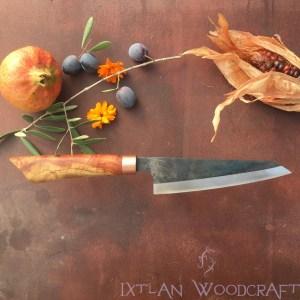 Honesuki kitchen knife carob wood, copper