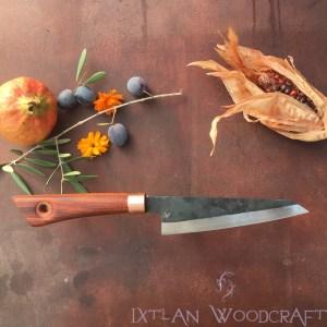 Honesuki kitchen knife carob wood, palisander, copper