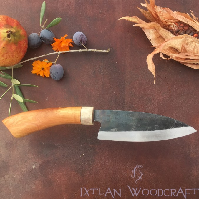 Tall Petty kitchen knife juniper wood, deer horn