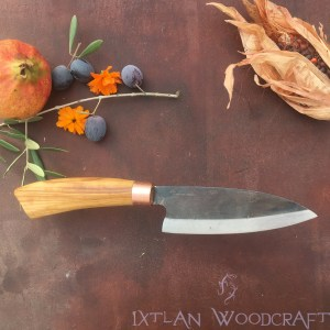 Tall Petty kitchen knife olive wood, copper