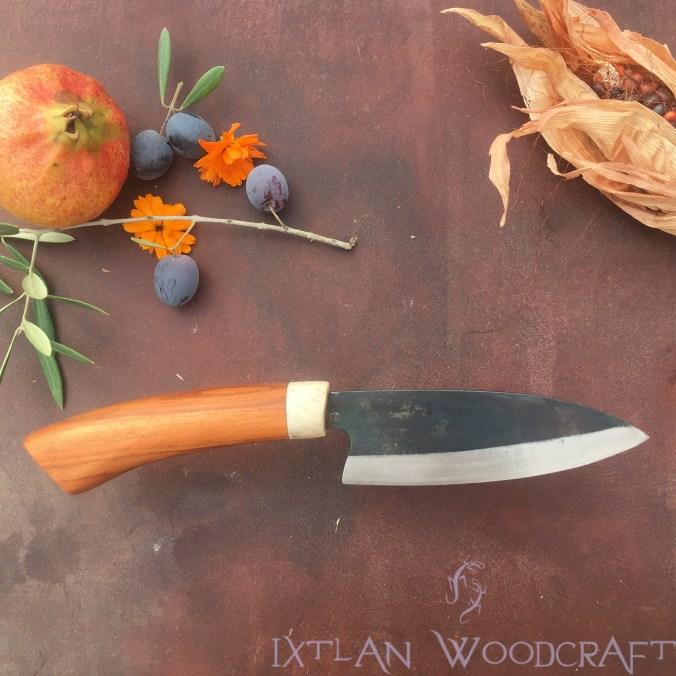Tall Petty kitchen knife apricot wood, deer horn