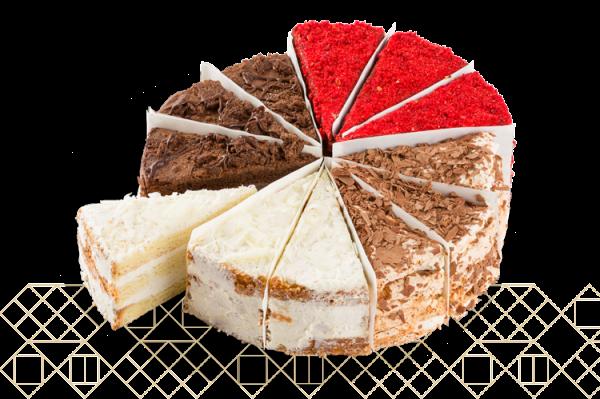 4 Cake Variety Pack: Mozart, Chocolate Nostalgia, Vanilla Dream, Red Velvet