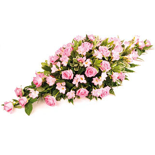 Pink Funeral Coffin Arrangement
