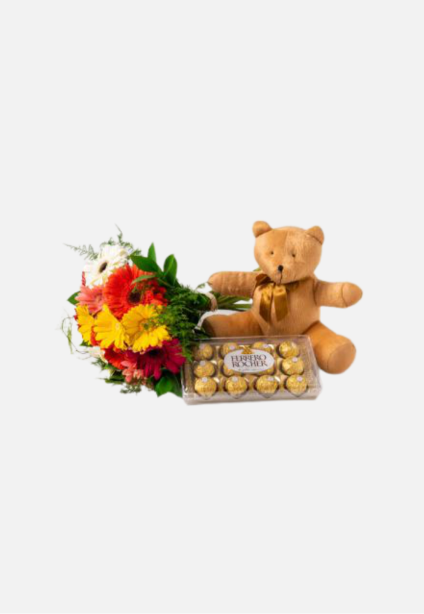 Mix Colorful Flowers And Teddy