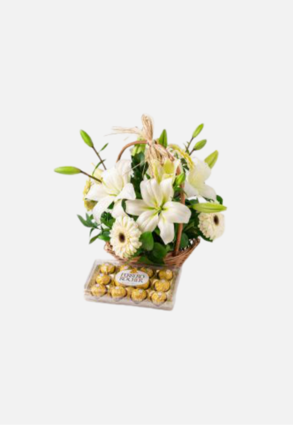 Lilies, White Gerberas and Chocolate