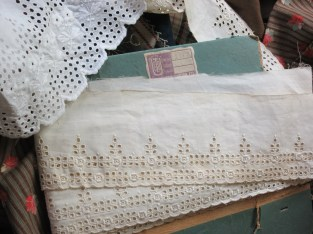 """The 19th century petticoat ruffle and a bolt of unused """"store stock"""" which a almost a match!"""