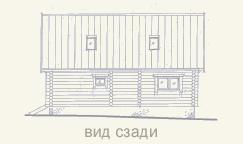 вид деревянного дома из сруба слева