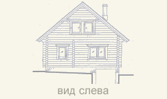 вид деревянного дома из сруба сзади