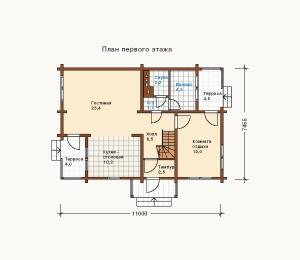 план первого этажа дома из сруба