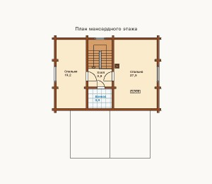 план мансарды дома из сруба