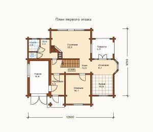 план 1 этажа коттеджа из сруба
