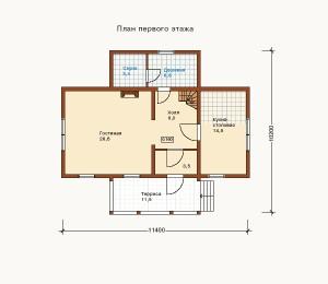 план 1 этажа дома из бруса
