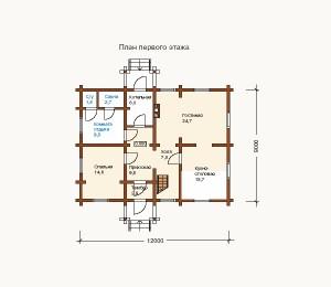 план 1 этажа дома из сруба