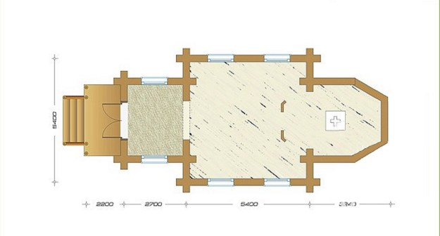 план бревенчатой церкви