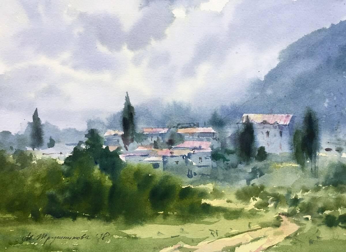 Maisema talojen kanssa