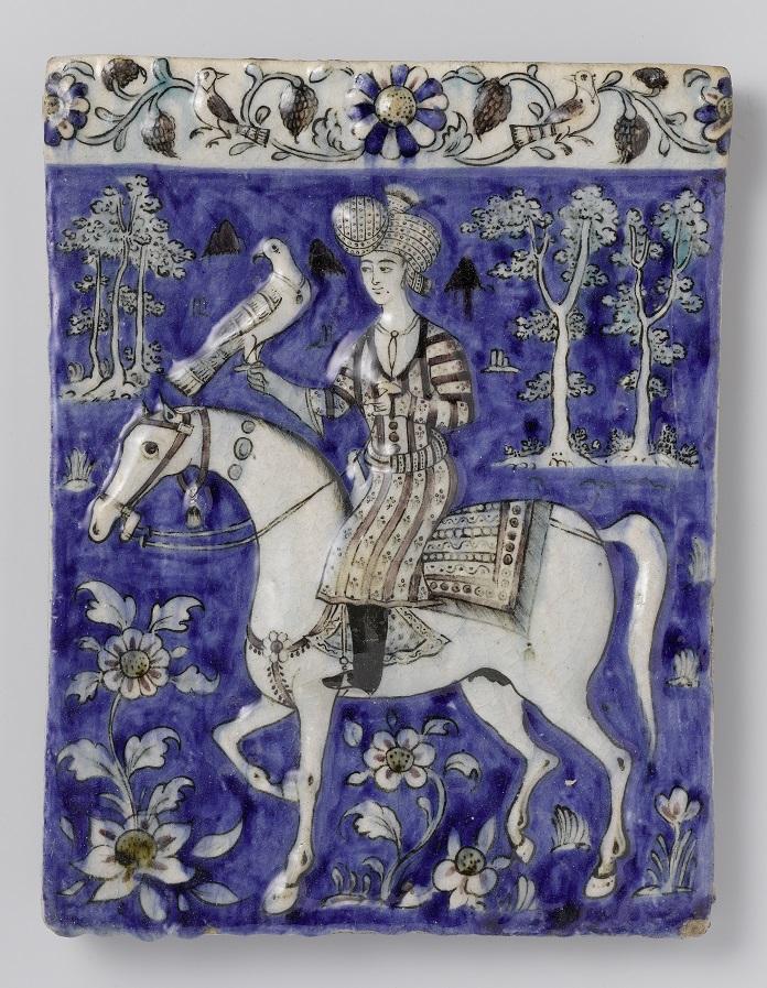 Lovas sólyommal, perzsa domborműves csempe