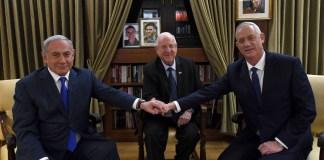 Benjamin Netanjahu és Beni Ganz találkozója Reuven Rivlinaz elnöknél - fotó: Haim Zach / GPO