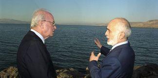 Rabin és Husszein király. Tisztelték egymást - fotó: Wikipedia