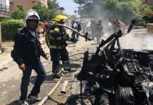 A felrobbantott autó Givatájimban - fotó: Izraeli Mentőszolgálat