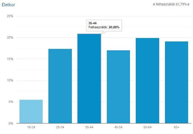 Izraelinfo felhasználók életkor szerinti megoszlása - fotó: Google Analytics