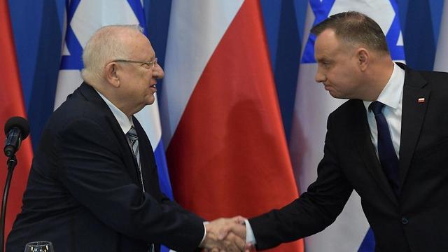 Reuven Rivlin a lengyel elnökkel - fotó: Amos Ben Gershom / GPO