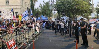 Netanjahu elleni tüntetés a Balfour utcában - fotó: Izraelinfo