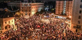 Tüntetés a Balfour utcában Jeruzsálemben