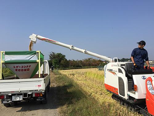 お米の収穫作業 コンバイン
