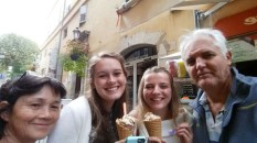 My host Parents, Shelbie and I, with some delicous ice cream in Grasse