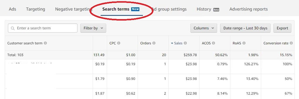 Customer search terms Showing in Seller Central