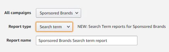 Search Term Reports for Sponsored Brands