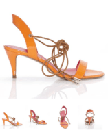 Pura Lopez Keliana patent leather strappy lace up mid heel sandal