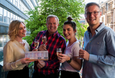 Middle: From l-r: Charlotte Solomon, Head of Club Individual, VIP Rome trip winner John Bagshaw, Imogen Arnup, Event Sales Manager at Restaurant Bar & Grill Manchester and David Bagshaw, son of winner John Bagshaw.