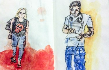 Sketches of photos of people in t-shirts, in and around S.B.R, Pen and Ink, Water colour