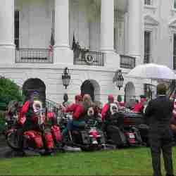 At soggy WH, Trump urges bikers to remember Nov. 3