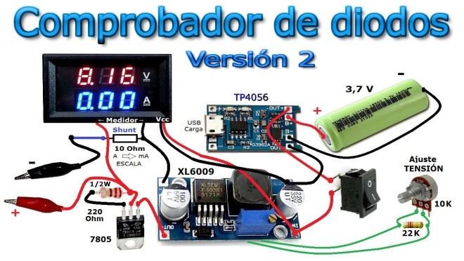 Esquema: Comprobador de diodos (v2)
