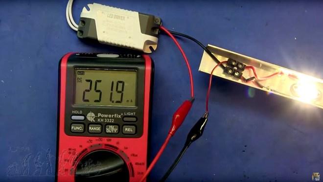Medida de la corriente en la barra LED