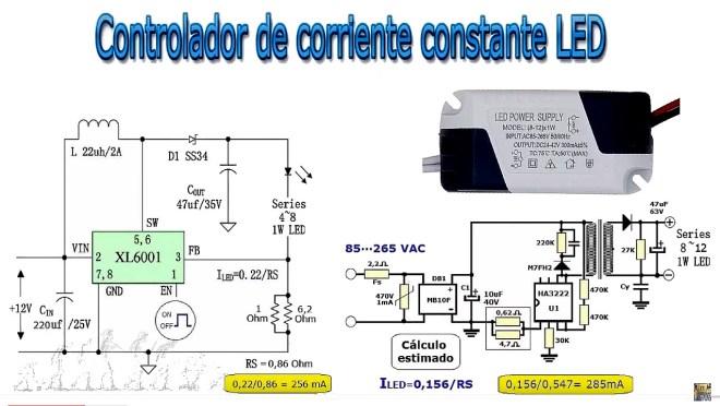 Comparativa, controladores de corriente constante