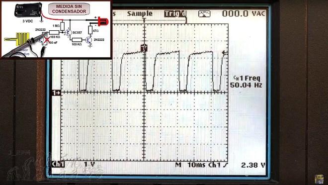 Oscilograma de la señal inducida