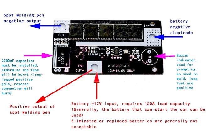 Kit de soldadura de doble punto, para alimentarlo con una batería de 12V.