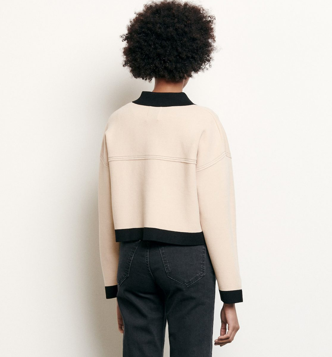 CROPPED CARDIGAN WITH TOPSTITCHING
