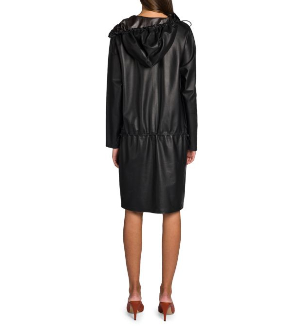 HOODED FAUX LEATHER DRAWSTRING DRESS