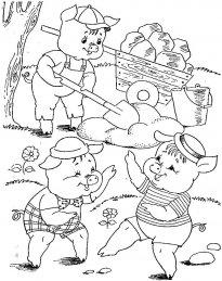 скачать раскраски русские сказки 3 поросенка